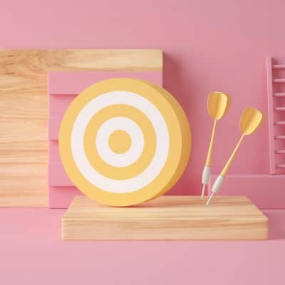 3D Illustration. Target and darts.