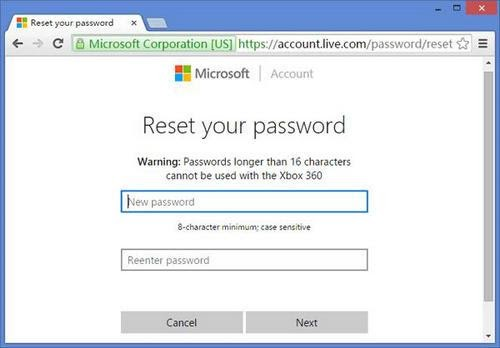 reset Microsoft account password to unlock Lenovo