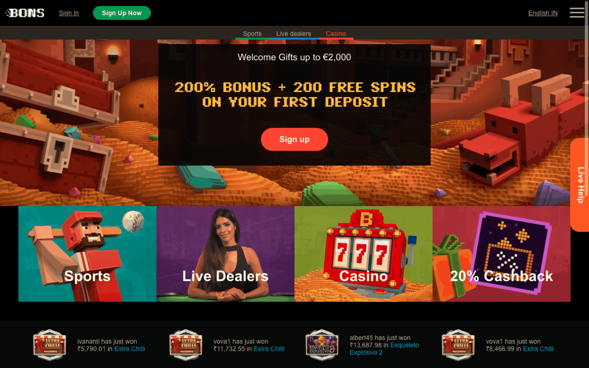 Bons Casino India Review