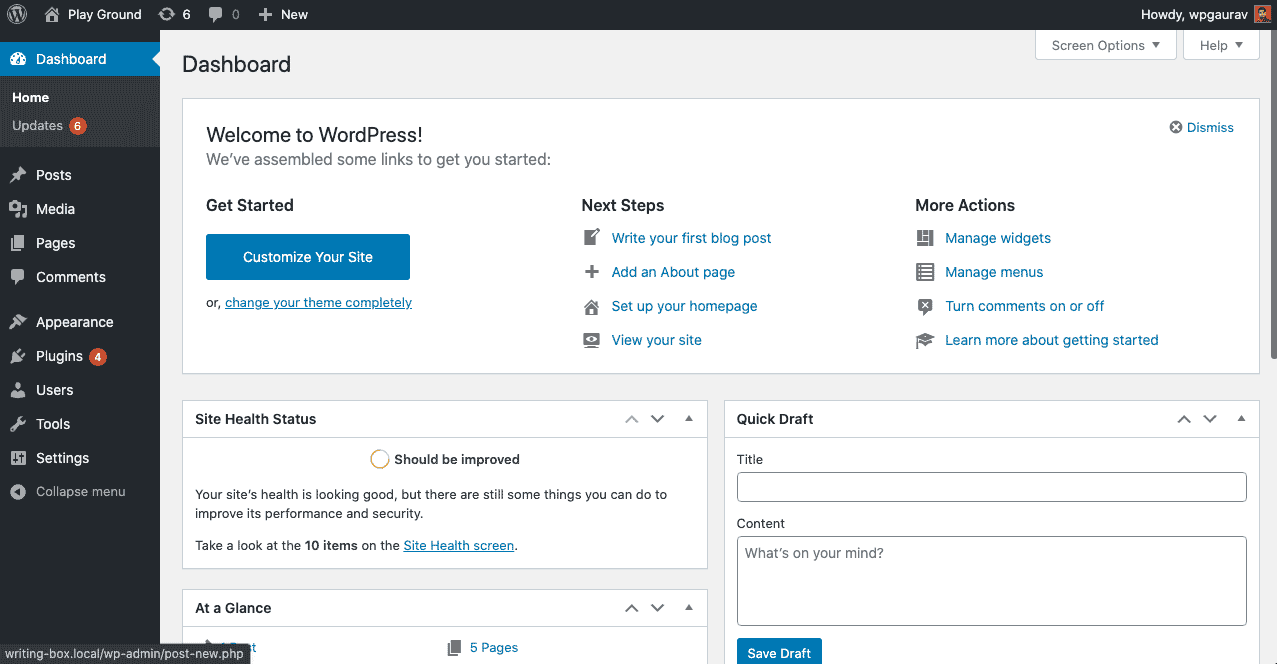 WordPress Dashboard after you install WordPress -- Start a Blog