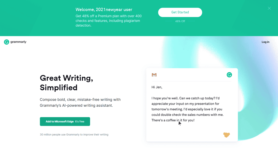 New Year Sale Discount on Grammarly Premium: 1 Year @ $75
