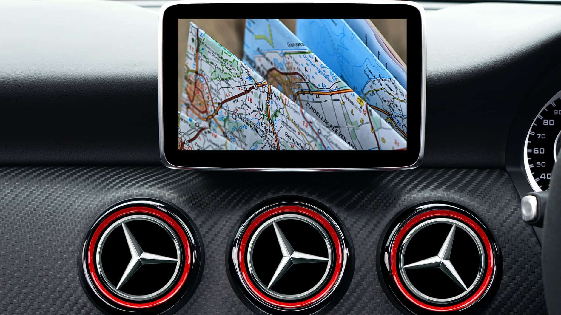 Gps device attached on dash board