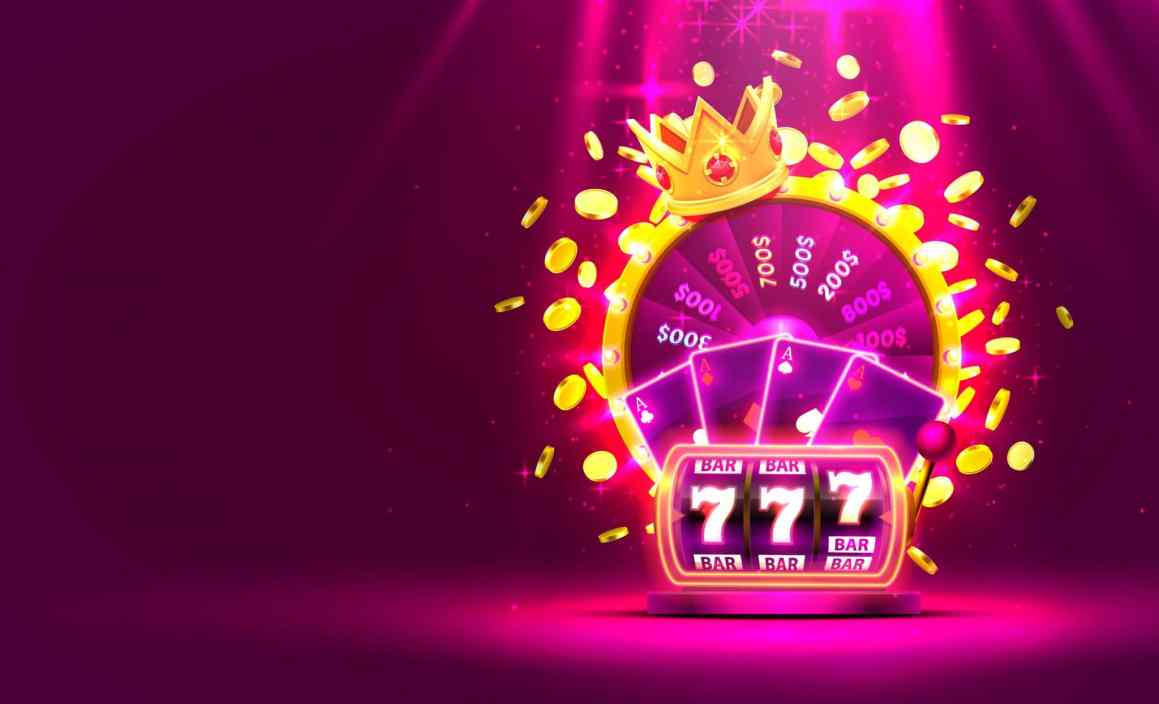Casino golden colorful fortune wheel, Neon slot machine, Playing Cards wins the jackpot. Vector illustration