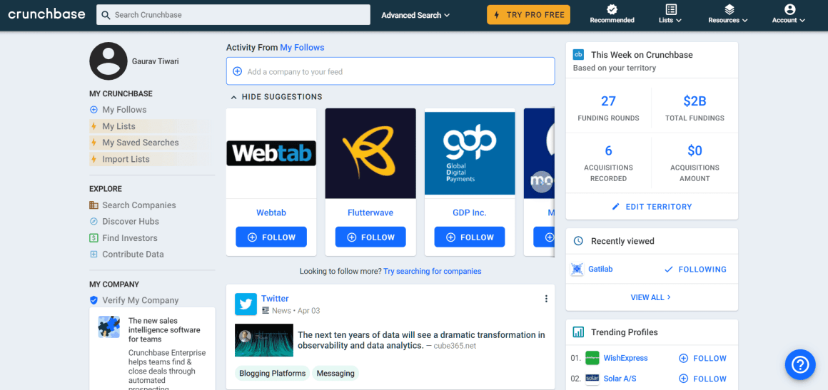 Crunchbase - one of the best business directories in the world