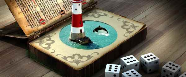 lighthouse, dolphin, cube