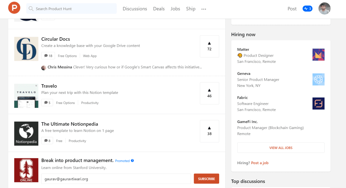 Product Hunt  Hiring Now Section for web developer jobs and others