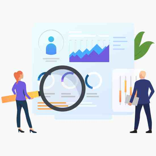 Seo rank your pages better, businesspeople with magnifying glass at charts vector illustration. Business research, analysis, audit. Marketing concept. Creative design for layouts, web pages, banners