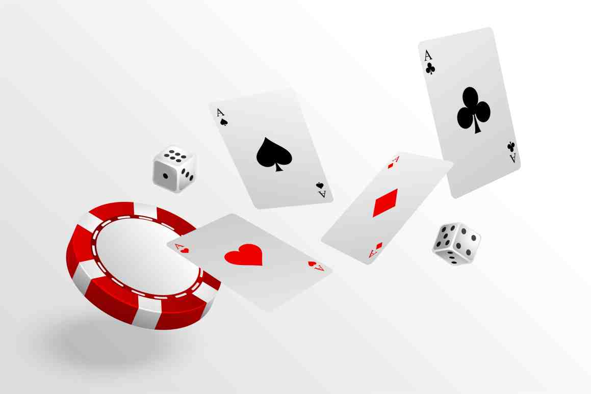 Playing cards chips and dice flying casino background from article why online casino businesses are thriving.