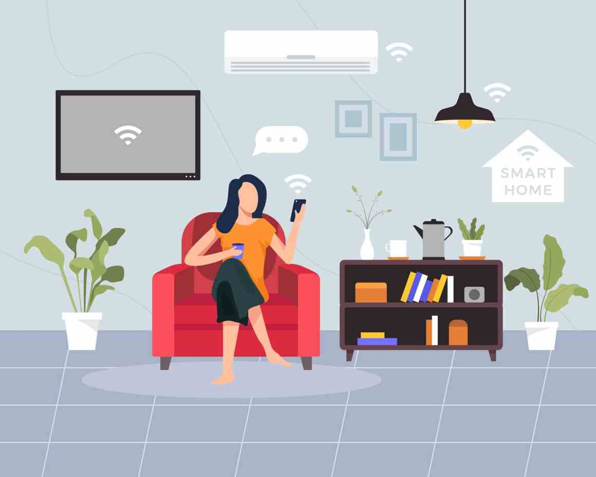 Smart home concept illustration. Concept of house technology system with wireless centralized control using one of the best smart light switches. Young woman sit on the sofa holding smartphone. Vector illustration in a flat style