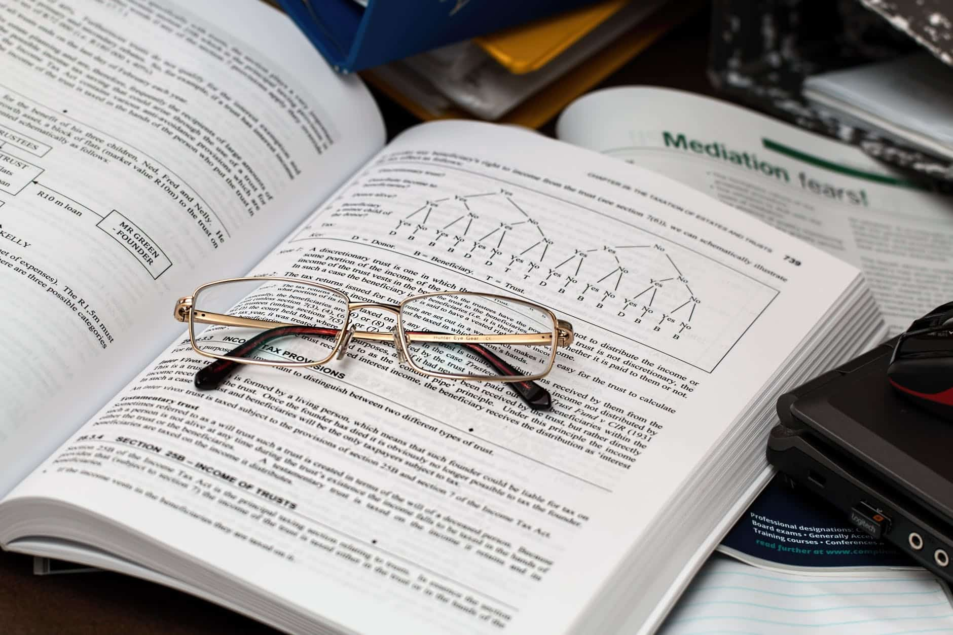 Eyeglasses on open book, best real analysis books
