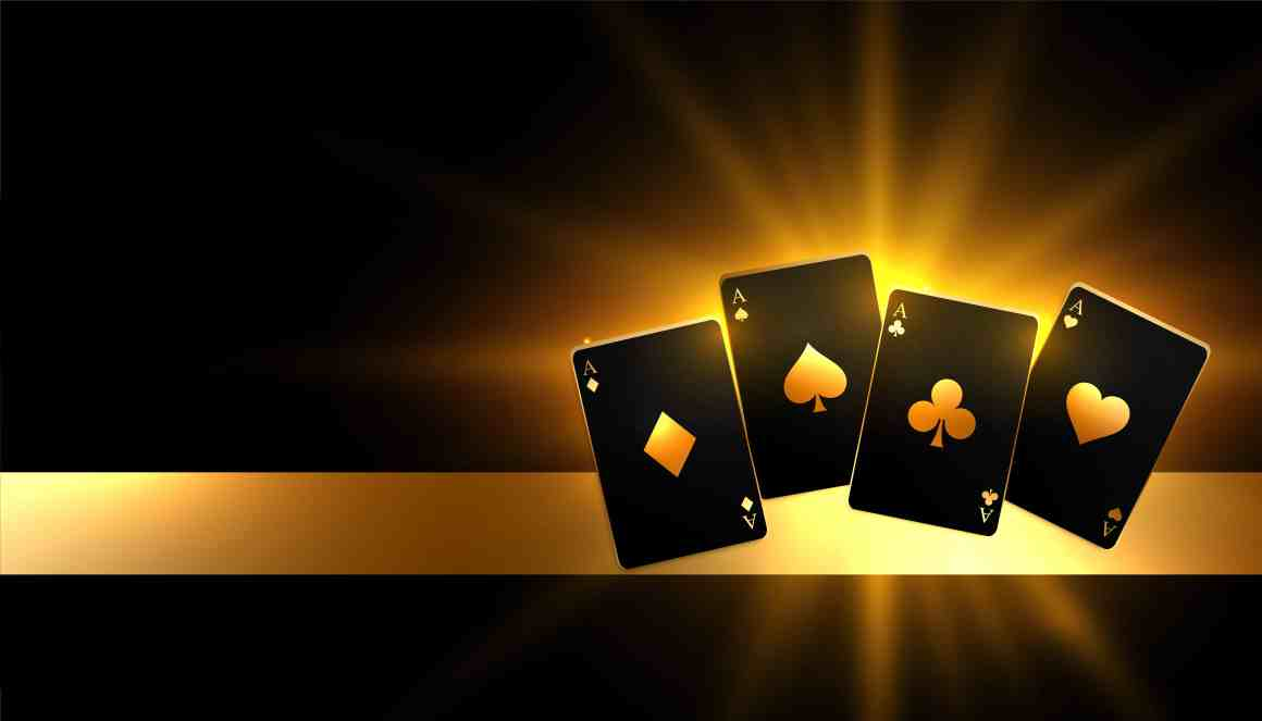 Glowing golden paying cards casino background design bitcoin blackjack