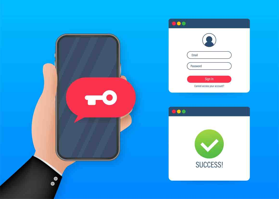 Duo authentication concept banner with text place. Shows identity proofing