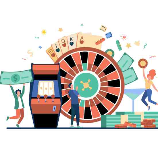 People playing poker and winning money. Gamblers with roulette, slot machine, and chips. Vector illustration for online casino, poker club, blackjack, gambling concepts