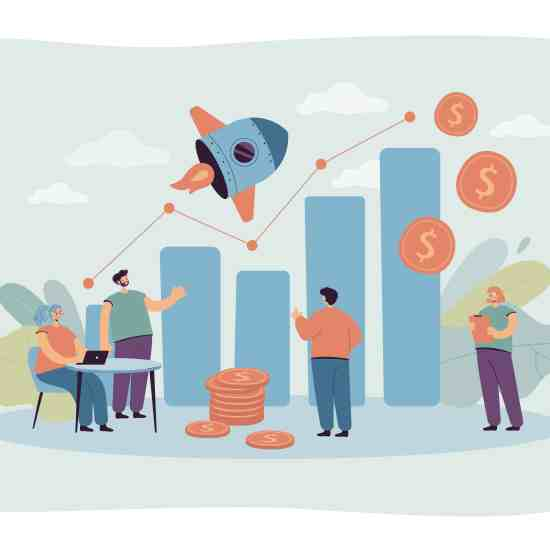 Tiny sales managers looking at growth chart flat vector illustration. Cartoon creative employees launching sales promotion or startup. Business and finance operations concept