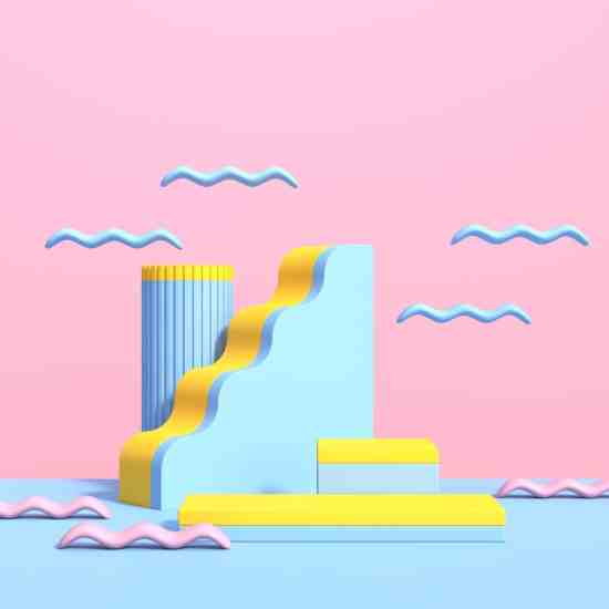 Abstract-3d-scene-with-geometric-shapes-different-colors-with-podium-product-demonstration-render