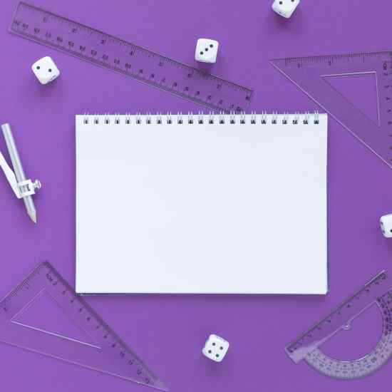 Math-rulers-supplies-with-dices-empty-notebook