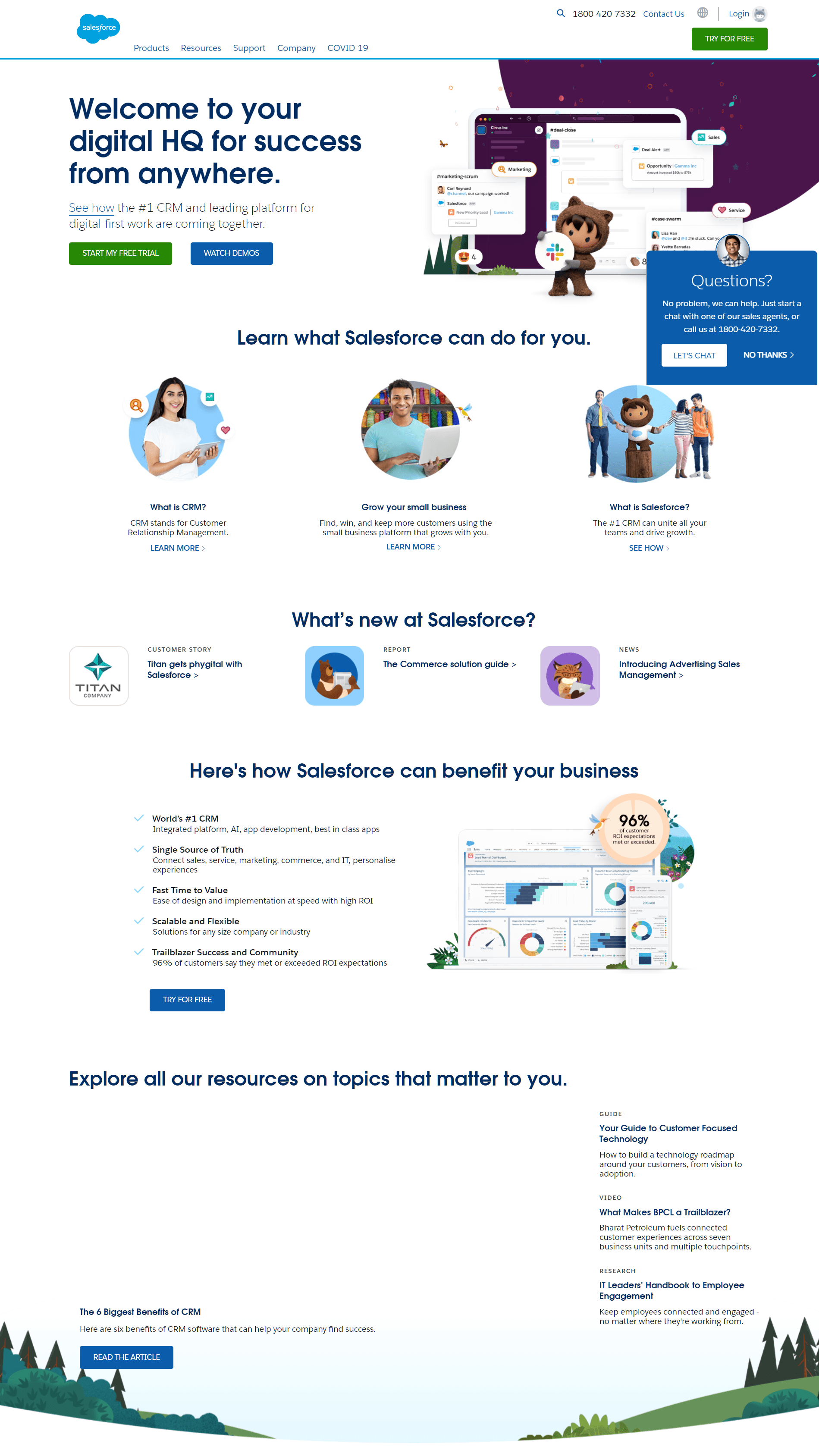 Salesforce product pages