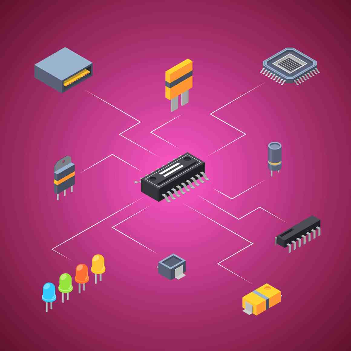 Vector isometric transistor and electronic parts icons infographic connection concept illustration